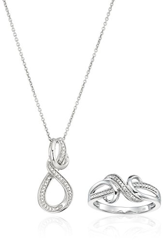 Diamond Rope Twist Ring - sterling silver diamond twist pendant and ring box, 18