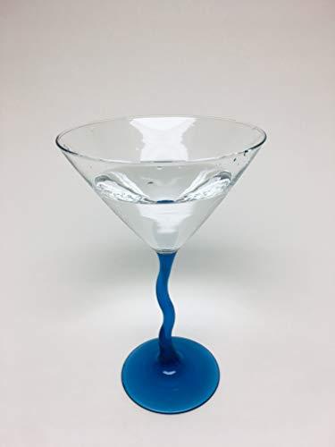 Martini Glasses 10 fl oz, Scottish Serpent (Cobalt Blue Stem, 6-Pack)
