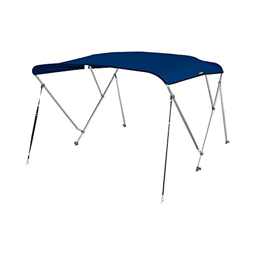 MSC 3 Bow Bimini Boat Top Cover with Rear Support Pole and Storage Boot, Color Grey, Pacific Blue, Burgundy,Navy,Beige,Forest Green available (Navy, 3 Bow 6'L x 46