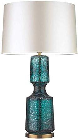 Lámpara de mesa moderna con base de vidrio y pantalla de tela Luz ...