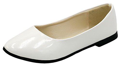 AllhqFashion Damen Blend-Materialien Ohne Absatz Ziehen auf Pumps Schuhe Weiß