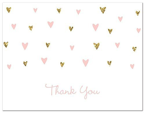 MyExpression.com 50 Cnt Pink Faux Glitter Hearts Baby Shower Thank You Cards by MyExpression.com (Image #2)