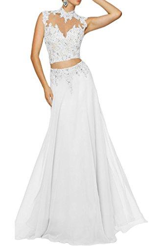 Braut teilig Ballkleider Rock Weiß Abschlussballkleider A Chiffon Zwei Spitze mia Linie La Abendkleider Damen TF57Cnq