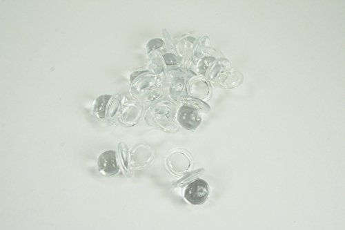 100 Mini Acrylic Pacifiers Baby Shower Favor 3/4 Inches Long by 1/2 Inches Wide (Clear) (Acrylic Shower)