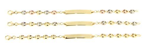 Bracelet enfant - identité grain de café - Or jaune/Or blanc/Or rose 750/1000 (18 carats) - gravure offerte