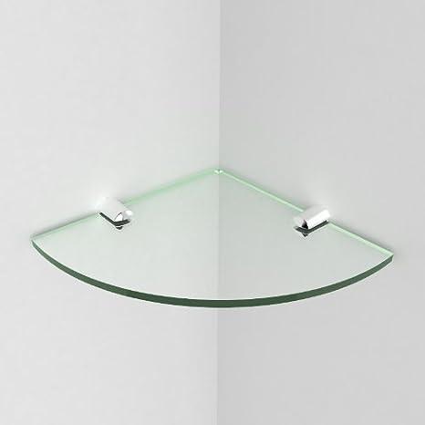 6 Zoll // 15,24 cm Acryl ca wird mit Befestigungselementen aus Chrom geliefert Glass Effect 150 mm Eckregal f/ürs Badezimmer