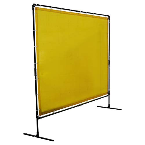 Titan 6'x8' Welding Screen with Steel Frame Yellow Transparent Safety Curtain TIG MIG Weld Flame Retardant ()