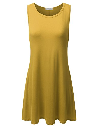 JJ Perfection Women's Basic Sleeveless Pockets Casual Swing T-Shirts Top Tunic Dress Mustard 1XL