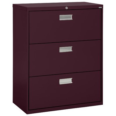 """Sandusky Lee LF6A363-03 600 Series 3 Drawer Lateral File Cabinet, 19.25"""" Depth x 40.875"""" Height x 36"""" Width, Burgundy"""