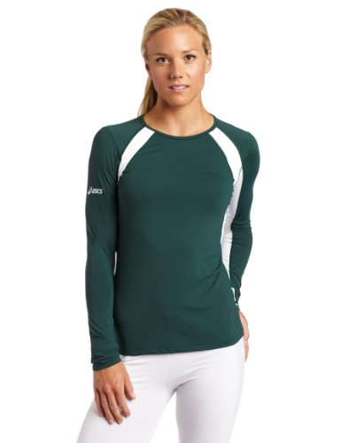 Asics Athletic Jersey - ASICS Women's Heater Long Sleeve Jersey, Forest/White, Small