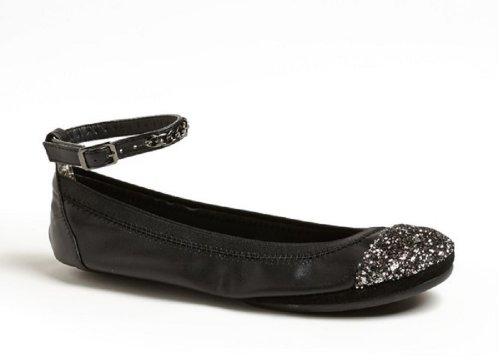 Yosi Samra Women's Glitter Captoe Flat with Ankle Strap in Black/Stardust (10)
