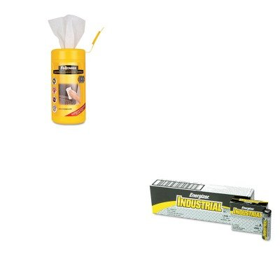 KITEVEEN91FEL99703 - Value Kit - Fellowes Screen Cleaning Wet Wipes (FEL99703) and Energizer Industrial Alkaline Batteries (EVEEN91) by Fellowes