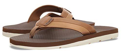 (Scott Hawaii Mens Size 9 Tan Vegan Leather Sandals | Reef Walking Flip Flops for Men | Neoprene Comfort Waterproof Shoes | Guarantee All Day Arch Support Palaole | Comfortable Slipper)