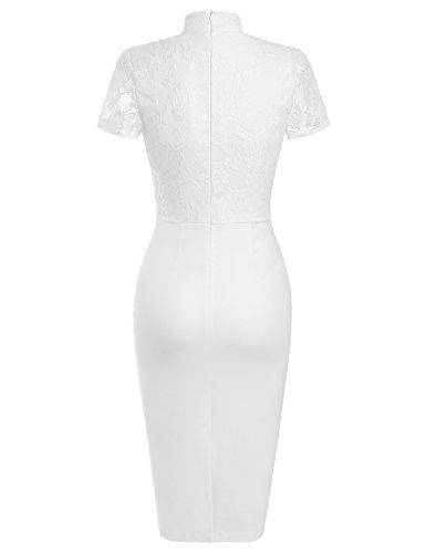 MUXXN Falda Lapiz Elastica de Velada Casual Manga Corta encaje Retro 1950s para Mujer White