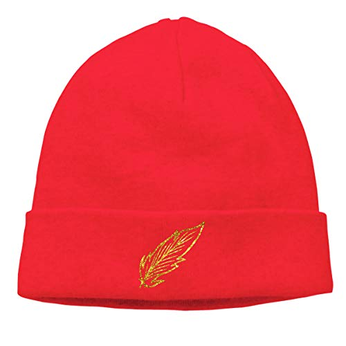 - Skully Beanie Wool Knitted Cap Beautiful Gold Feather Warm Hat Daily Slouchy Hats Crease Knit Beanies Skull Cap