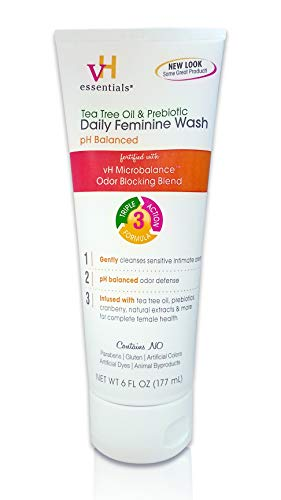 (vH essentials Intimate Feminine Wash - pH Balanced with Tea Tree Oil, Cranberry, Prebiotics, Lavender, and Chamomile- 6 Fluid Ounce)