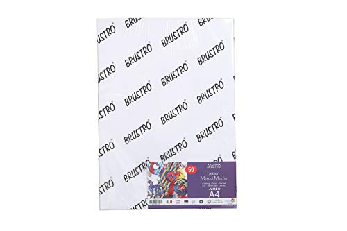 Brustro Artists' Mixed Media Paper 250gsm Jumbo – A4 (50 Sheets)