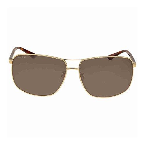 Gucci Men GG0065SK 66 Gold/Green Sunglasses - Gucci Sunglasses Mens Gold