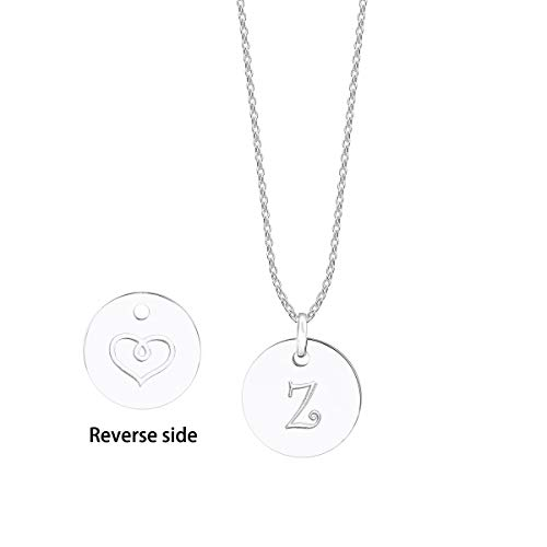 (JIUBAN Initial Necklace Letter Round Disc Pendant Double Side Engraved Adjustable Personalized Necklace(26 Alphabets A to Z) (Z-Silver))