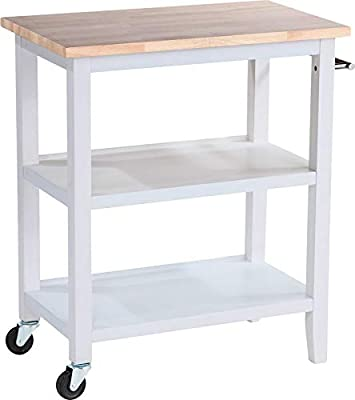 Charming Kitchen Cart, Heat Exposure Resistant, Open Shelving for Ample Storage Space, Sturdy and Long Lasting Rubberwood Construction, Stainless Steel Handle, Can be Used as Microwave Cart