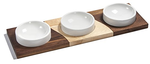 "J.K. Adams Mettowee Maple & Walnut Dip Server with Three Stoneware Bowls, 20"" x 6-1/2""/5"", Brown made in Vermont"