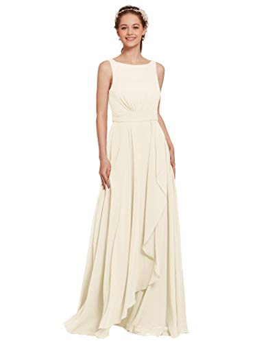 AW Chiffon Bridesmaid Dress Long Formal Prom Party Evening Maxi Dresses Sleeveless, Ivory, US4