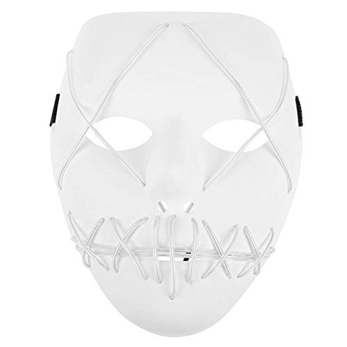 Laz-Tipa - Halloween Mask LED Light Up Funny Masks Ghost Slit Mouth The Purge Election Year Great Festival Costume Party -
