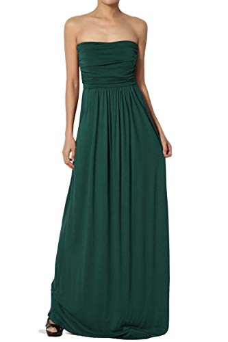 TheMogan Women's Strapless Draped Jersey Pocket Long Maxi Dress Hunter Green S