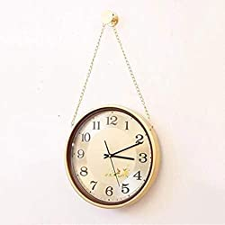 MGE UPS Systems Clock Wall Clock,Pocket Watch Round Wall Clock Gold Metal Home Bedroom European Clock Mute 14 Inch