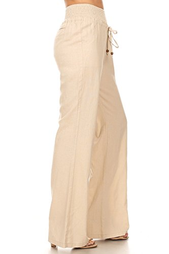 April Apparel Inc. Via Jay Women's Casual Relaxed-Fit Wide Leg High Waist Pants (Large, Khaki) by April Apparel Inc.