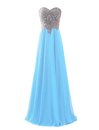 Buy light blue and gold bridesmaid dresses - 1