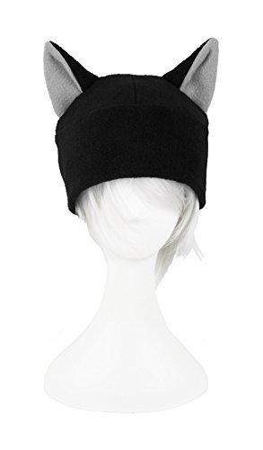 Mrawp Men's Black Fleece Beanie Cat Hat (Black With Light (Cat Beanie)