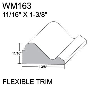 Flexible Moulding - Stain Grade - Oak Grain - Flexible Base Cap Moulding - WM163 - 11/16