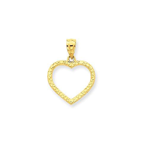 - FB Jewels 14K Yellow Gold Diamond-Cut Nugget Heart Pendant