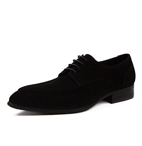 Heart&M helado de cuero genuino de negocios ocasionales de los hombres zapatos de cuero del ante Black