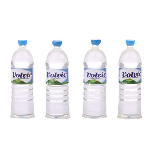 Kofun Toy Water Bottles, 1:12 Toy Water Bottles Set Dollhouse Miniature Drinking Accessory Ideal Christmas Birthday Toy Water Bottles Gift for Kids 4 Pieces 4#