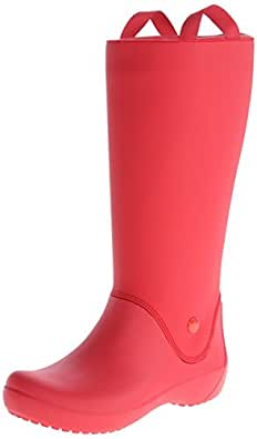 crocs Women's Rainfloe Rain Boot,Red/Red,4 M US