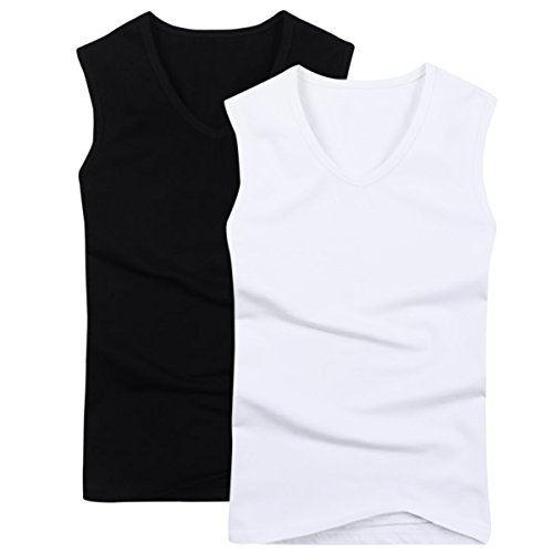 (Pishon Men's Sleeveless Tee Shirts Casual V-Neck/Crew Neck Fitted Muscle T-Shirt, V Neck Pack4, Tag Size XL=US Size S)