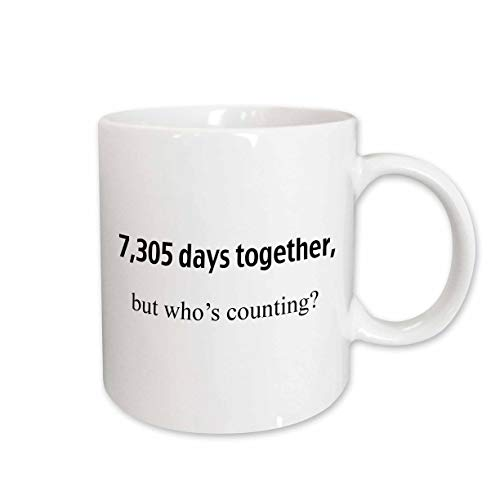 20th Anniversary Plate - 3dRose 7 305 Days Together But Who's Counting Happy 20th Anniversary Ceramic Mug, 11-Ounce