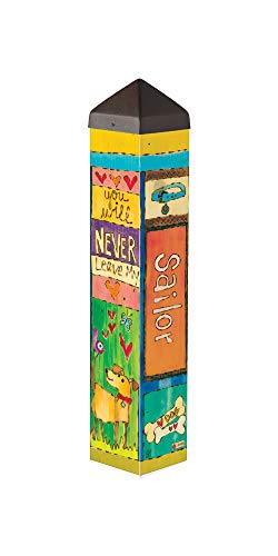 (Studio M Dog Lover Custom Personalized Art Pole Decorative Best Friend Pet Memorial Tribute Outdoor Garden Post, Patented Design, Easy Installation, 20 Inches Tall)