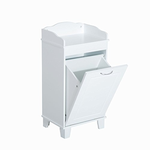 Bathroom Hamper Wood Laundry Tilt Out Basket Storage Bench Furniture Cabinet (Double Tilt Out Laundry Hamper)