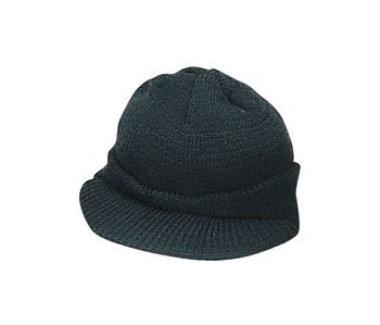 Genuine G.I. Black Wool Jeep Cap, Knit Cap with Visor (Cap Army Knit Black)