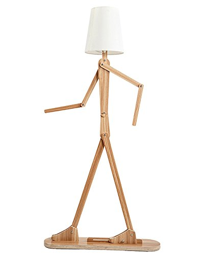 HROOME Creative Nordic Style Adjustable DIY Wooden Floor Lamp Floor Stand  Light For Living Room Bedroom With Lampshade (Ash) Part 52