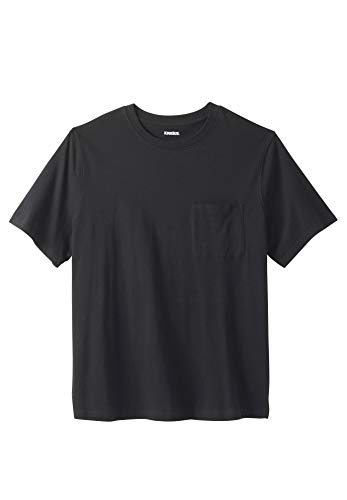 KingSize Lightweight Crewneck Cotton Tee Shirt with Pocket, Black Tall-5XL