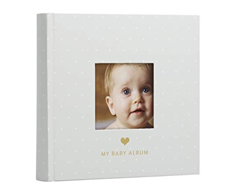 - Pearhead Baby Photo Album, Gray/White Polka Dots
