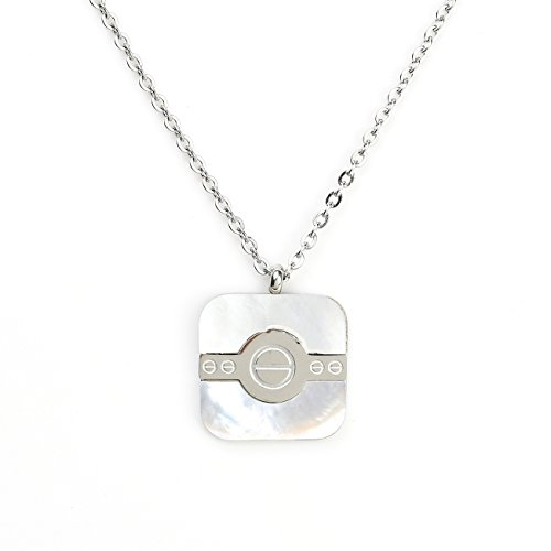 Stylish Silver (White Gold) Tone Square Geometric Pendant with Contemporary Screw Design and Faux Mother-Of-Pearl Inlay ()