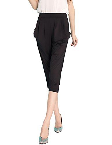 Costume Ragazza Bermuda Casual Taglie Donna Pantaloni Colore Moda Forti Comode Alta Baggy Pantalone Abbigliamento Con Nero Elastico Harem Vita Puro UwYq6