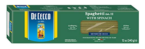 De Cecco Spinach Pasta, Spaghetti No.12, 12 Ounce (Pack of 12)