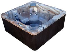 Spa Plug n Play 6 Person Hot Tub LED - 29 Stainless Jets (Sterling shell/Mahogany cabinet) by Pool and Spa Clearance Depot