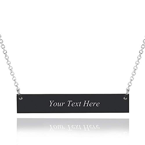 Alicia-E Personalized Sterling Silver Bar Necklace Custom Name Bar Necklace Jewelry Gift For Women And Men (Black)
